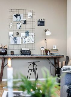 Home office - work space - metal grid moodboard home offices Home Office Design, Office Decor, House Design, Decoration Inspiration, Room Inspiration, Interior Styling, Interior Design, Simple Desk, Deco Design
