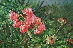 Oleander with a Tree Frog by Rosemarie Adcock Oil ~ 20 x 30