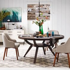 "Arc Base Pedestal Table $599. 60"" (for dining room)"