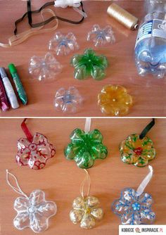 Recycled bottle star ornaments- Christmas kid craft