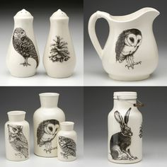 Laura Zindel is an artist who creates unique houseware combining her passion for ceramics and nature. Ceramic Painting, Ceramic Art, Owl Bags, Felt Owls, Owl Always Love You, Cute Owl, Household Items, Altered Art, Screen Printing
