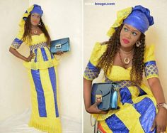 Brocart orange africain maxi robe avec par NewAfricanDesigns