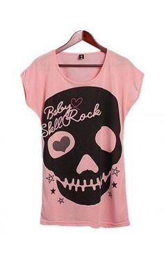 Skull Design Oversized Cotton T-shirt Puuvilla 429817b6a8