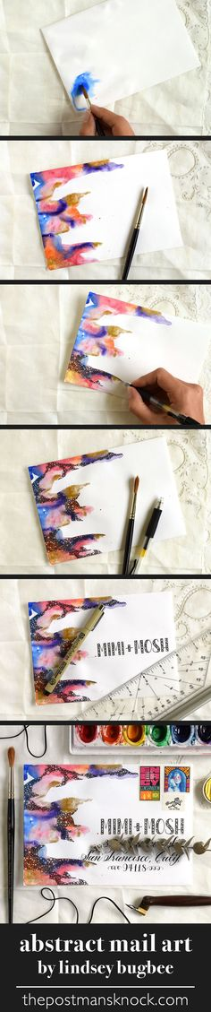 Three Creative Envelope Design Mini-Tutorials Funky, colorful abstract mail art made with watercolor + a gel pen by Lindsey Bugbee Envelope Art, Envelope Design, Mail Art, Pattern Texture, Karten Diy, Bussiness Card, Watercolor Cards, Watercolor Ideas, Watercolor Classes