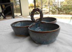 Three Bowl Sauce or Salsa Bowl Server in Blue by PotteryBySaleek, $28.00