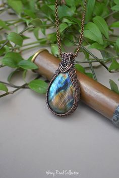 Spectrolite Wire Wrapped Copper Pendant.  Large Gemstone