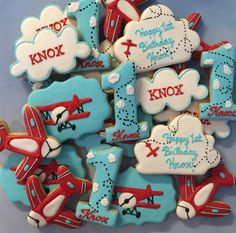 Vintage Airplane themed custom cookies For more info please visit my page or email me /busybeecakery malinda@ 1st Birthday Boy Themes, 3rd Birthday Parties, Birthday Ideas, 2nd Birthday, Vintage Airplane Party, Vintage Airplanes, Airplane Birthday Cakes, Time Flies Birthday, Birthday Cookies