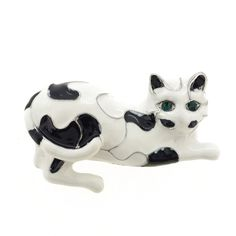 White and Black Enamel Cat Pin Brooch