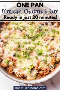 One Pan Mexican Chicken and Rice is the easiest one-pot recipe! The rice is cooked with seasoned chicken and tomato sauce for a super flavorful dish that's ready in just 20 minutes. Mexican Chicken And Rice, Chicken Rice, Mexican Dishes, Mexican Food Recipes, Quick Weeknight Dinners, Recipe Inspiration, Pot Recipe, Chicken Seasoning, One Pot Meals