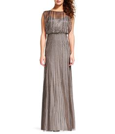 4b8d1d36c49b Adrianna Papell Beaded Boat Neck Cap Sleeve Blouson Gown