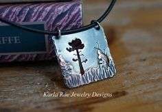 Hammered and layered sterling silver and copper, hand sawn forest scene  Karla Rae Jewelry Designs