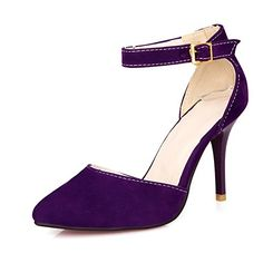 BeautyZone Womens Closed Pointed Toe High Heel Stiletto Imitated Suede Frosted Solid D-orsay Pumps with Red Bottom, Purple, 34 BeautyZone http://www.amazon.com/dp/B00LWL8I8M/ref=cm_sw_r_pi_dp_gdnOub1MCVZAJ
