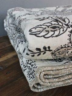 celia natural bedding  black + cream