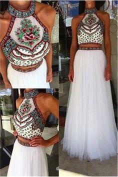 prom dresses,2018 prom dresses,evening dresses,O-neck flower white two pieces prom dresses for women