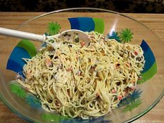 Vermicelli Salad ....Marinade over night, add veggies and this is the best pasta salad ever.