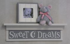 "Sweet Dreams on 24"" Shelf Linen White and Light Gray Moon and Star Nursery Wall Art. $40.00, via Etsy."
