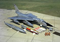 B-58 bomber with pilots and bomb load