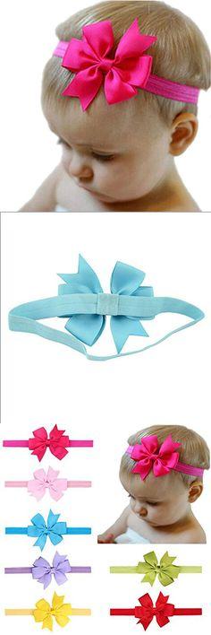 Baby Girls Headbands Grosgrain Ribbon Boutique Hair Bow Girl Headbands(7Pack)