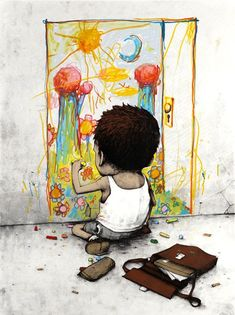 """by French street artist Dran (also know as """"The French Banksy"""")."""