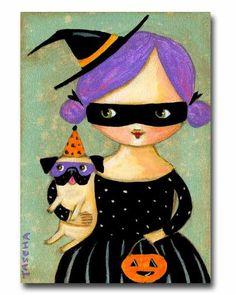 ORIGINAL Halloween PUG Dog Girl with Purple hair Folk by tascha