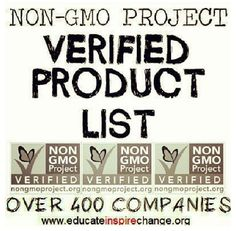 NON GMO Project verified product list