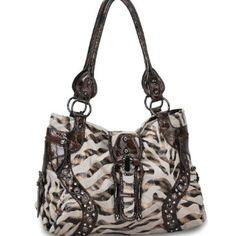 Designer Inspired Velboa Tote Handbag W/ Gold Foil Zebra Print Animal Print/ Fur Beige $55.49