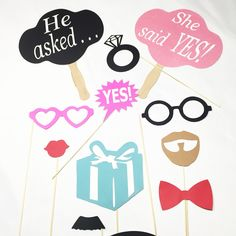 Photo Booth Props Mini Engagement Photo Booth Props 6PC
