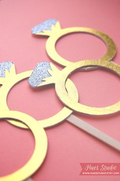 DIAMOND RING Party Treat Picks / Cupcake Toppers Set by HuesStudio, $8.00