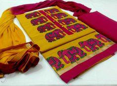 Top cotton  handloom  with work, bottom cotton, Dupatta chiffon