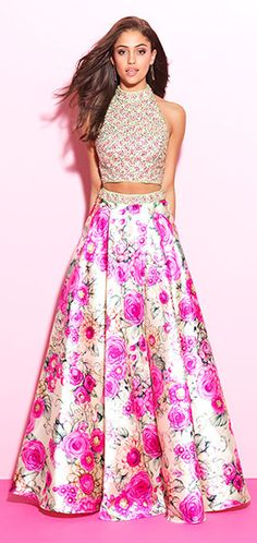 madison james white prom dress with pink floral pattern and exposed midriff