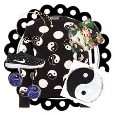 """ying yang"" by sausage26 on Polyvore featuring Être Cécile, Edie Parker, Accessorize, Jaded London and NIKE"