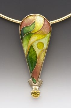 Pendant  Enamel, 14k and 24k gold, fine silver, and yellow sapphire   One-of-a-kind   SOLD