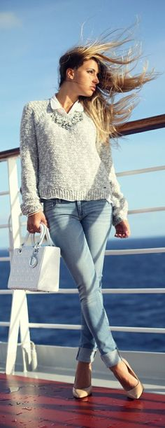 Really like this style sweater, pretty vs. preppy. -In The Open Ocean - like the rosy BLUSH biege/neutral sweaters! - can put chambray under sweater