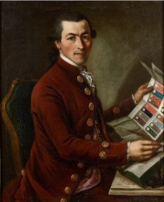 Giovanni Battista Rensi, draper, 1780, by Giovanni Battista Lampi, private collection. Note the page of fabric swatches he is holding.