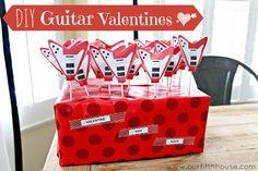 diy guitar valentines - using a free printable