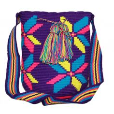 Authentic 100% Wayuu Mochila Colombian Bag Large Size Gorgeous Blue Pom | eBay