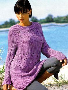 Длинный пуловер из ажурного узора с резинкой. Обсуждение на LiveInternet - Российский Сервис Онлайн-Дневников