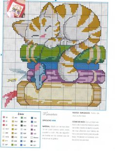 gato a punto de cruz Cat Cross Stitches, Cross Stitch Bookmarks, Cross Stitch Needles, Beaded Cross Stitch, Cross Stitch Baby, Cross Stitch Animals, Counted Cross Stitch Patterns, Cross Stitch Charts, Cross Stitch Designs
