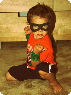 Super hero mask and power cuffs - make a matching cape and kiddo is all set :D