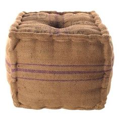 Recycled Burlap Cube Ottoman with Stripes #kathykuohome