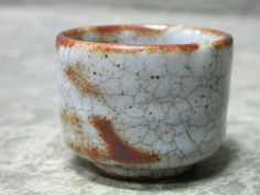 Japanese Ceramic Vintage tea Cup , Handmade in White Brown Gray . Japanese Stoneware tea cup with Shino glaze.