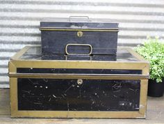 2 Vintage Cash Boxes/Metal Cash Boxes/Toleware Box by TeLuDesigns