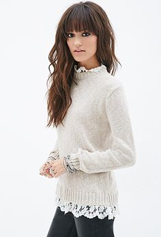 Forever 21 lace trim sweater