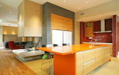 Wandgestaltung für die Küche – Einrichtungslösungen nach jedem Geschmack - einrichtnugsideen-wohnideen-küche-wandfarbe-orange-gelb