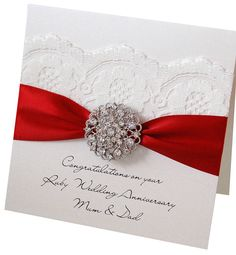Opulence Ruby Wedding Anniversary Card. For special 40th Wedding Anniversaries. Can be personalised too