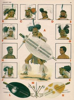 A Zulu warrior in full regimental regalia.And eamples of other regiments headdresses. Although not a strict rule it was the young unmarried regiments that wore the more elaborate headdresses. African History, African Art, Zulu Warrior, African Tribes, British Colonial, Afro, Military History, Black Art, Black History