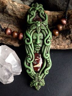 Hand Sculpted Clay Goddess Pendant with by FaceARTifacts on Etsy
