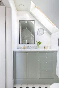 Custom built small bathroom with angeled ceiling in farrow and ball teal green. Zen Bathroom, Modern Bathroom, Master Bathroom, Bathroom Interior, Bathroom Ideas, Neutral Bathroom, Bathroom Basin, Bathroom Cabinets, Bathroom Designs