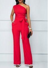 Rose Red One Shoulder Zipper Closure Jumpsuit | liligal.com - USD $30.36
