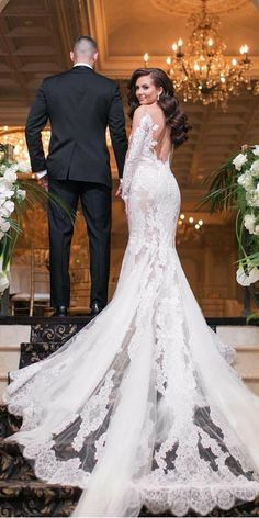 Top 24 Wedding Dresses For Celebration ❤ mermaid wedding ideas part 2 with long sleeeves floral pronovias ❤ See more: http://www.weddingforward.com/wedding-ideas-part-2/ #weddingforward #wedding #bride